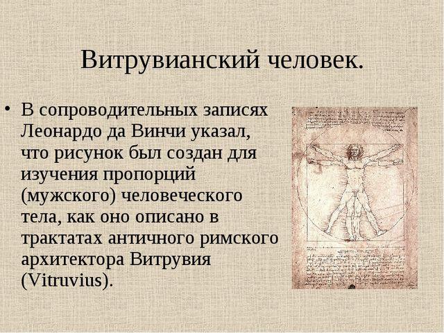 Витрувианский человек. В сопроводительных записях Леонардо да Винчи указал, ч...