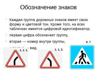 Обозначение знаков Каждая группа дорожных знаков имеет свою форму и цветовой