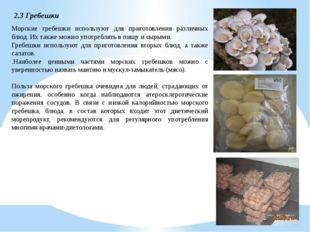 2.3 Гребешки Морские гребешки используют для приготовления различных блюд. Их