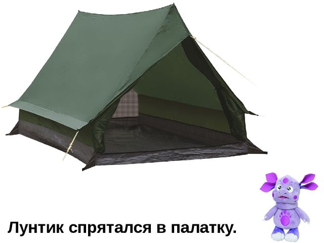 Лунтик спрятался в палатку.