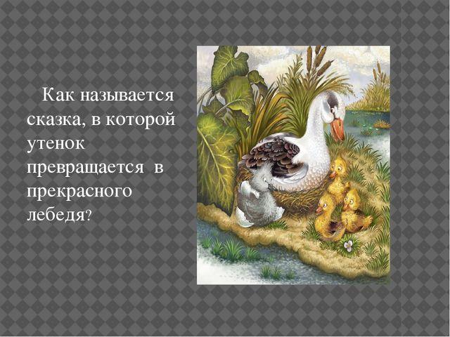 Как называется сказка, в которой утенок превращается в прекрасного лебедя?