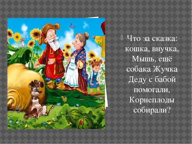 Что за сказка: кошка, внучка, Мышь, ещё собака Жучка Деду с бабой помогали, К...