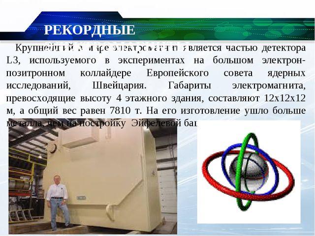 Крупнейший в мире электромагнит является частью детектора L3, используемого...