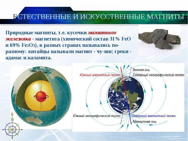 ЕСТЕСТВЕННЫЕ И ИСКУССТВЕННЫЕ МАГНИТЫ Природные магниты, т.е. кусочки магнитн...