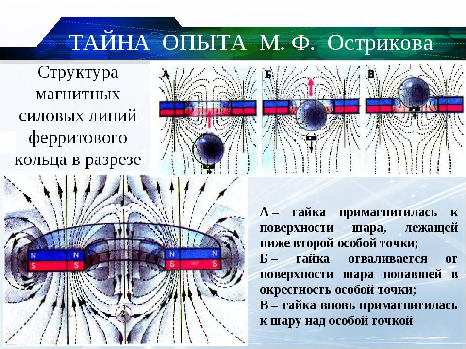 Структура магнитных силовых линий ферритового кольца в разрезе А– гайка прим...