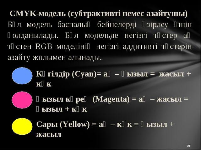 * CMYK-модель (субтрактивті немес азайтушы) Бұл модель баспалық бейнелерді әз...
