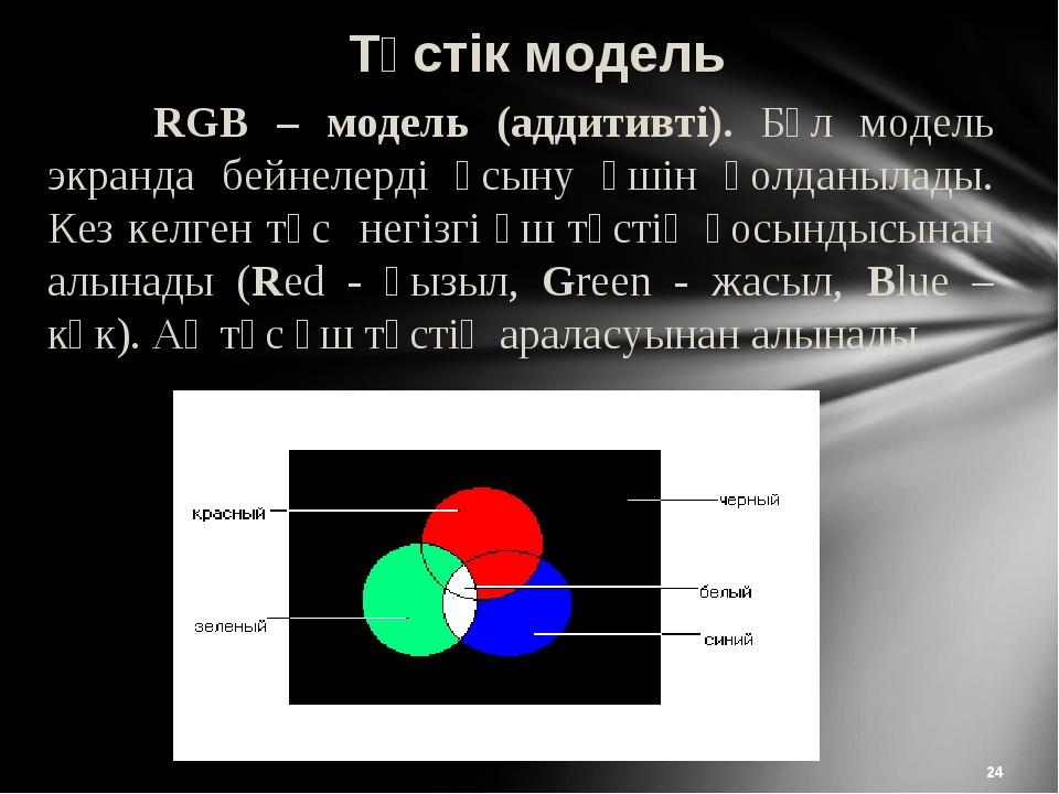 * Түстік модель RGB – модель (аддитивті). Бұл модель экранда бейнелерді ұсын...