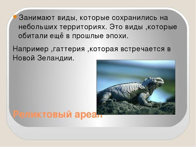 Реликтовый ареал Занимают виды, которые сохранились на небольших территориях....