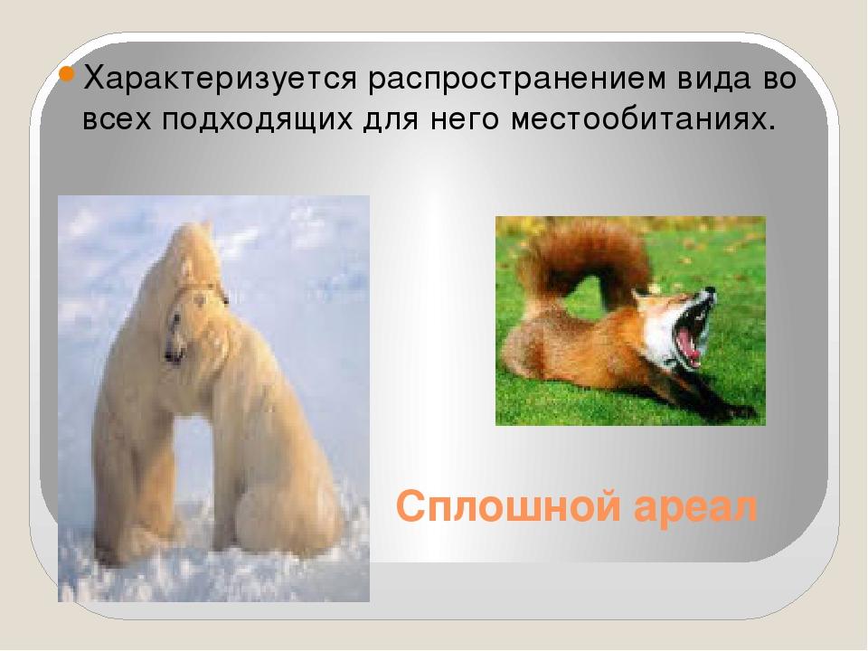 Сплошной ареал Характеризуется распространением вида во всех подходящих для н...