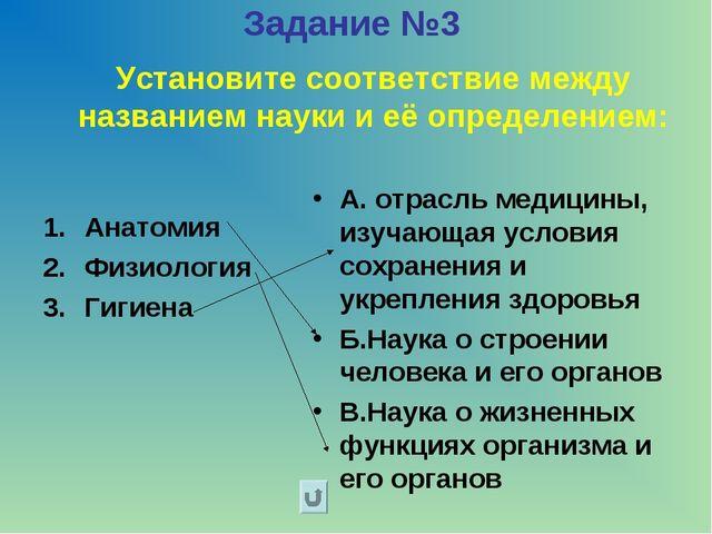 Задание №3 Анатомия Физиология Гигиена А. отрасль медицины, изучающая условия...