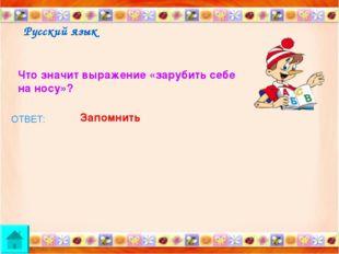 Русский язык Что значит выражение «зарубить себе на носу»? ОТВЕТ: Запомнить