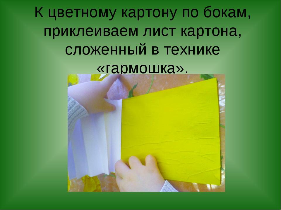 К цветному картону по бокам, приклеиваем лист картона, сложенный в технике «г...
