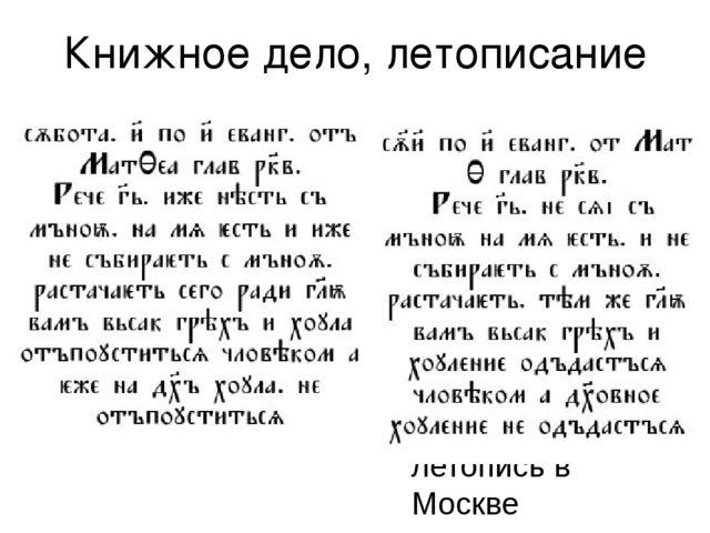 Книжное дело, летописание На смену шрифту «устав» приходит «полуустав» более...
