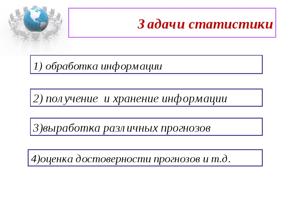Задачи статистики 1) обработка информации 2) получение и хранение информации...