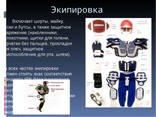 Экипировка Включает шорты, майку, носки и бутсы, а также защитное снаряжение