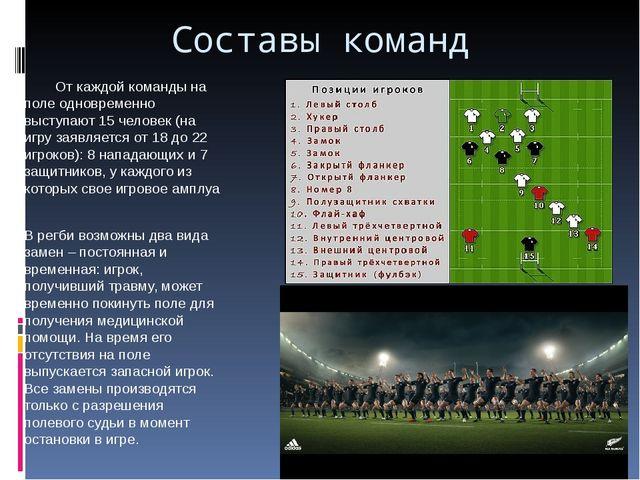 Составы команд От каждой команды на поле одновременно выступают 15 человек (н...
