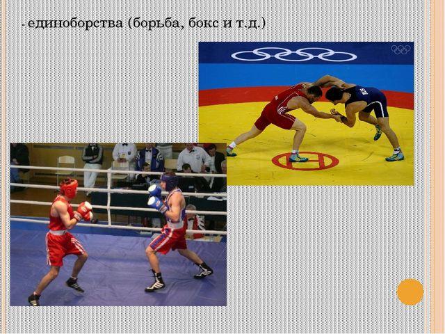 - единоборства (борьба, бокс и т.д.)