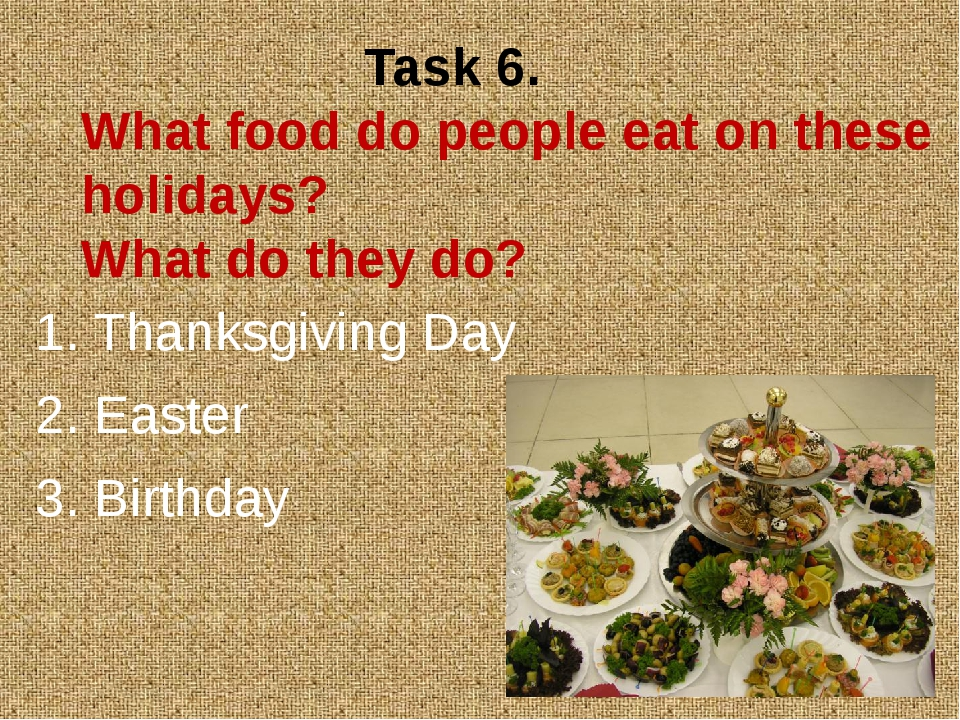 Task 6. What food do people eat on these holidays? What do they do? 1. Thank...