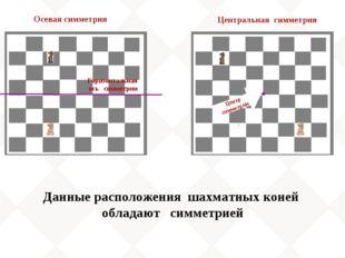 Горизонтальная ось симметрии Данные расположения шахматных коней обладают сим