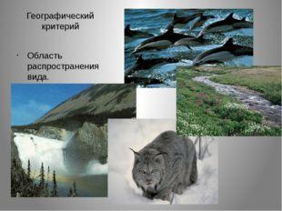 Географический критерий Область распространения вида.