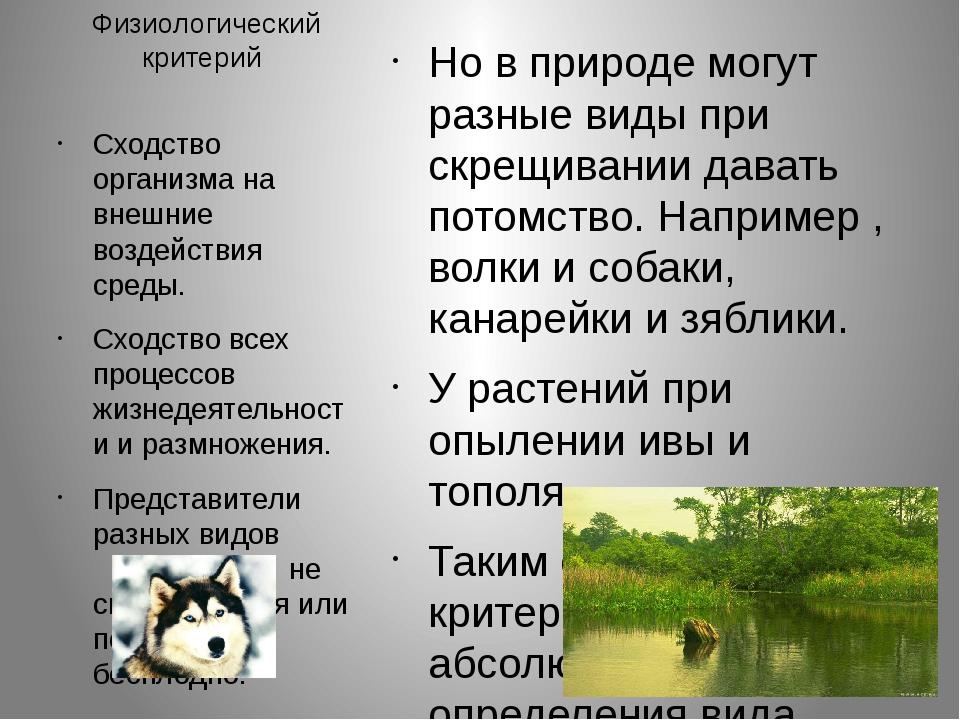 Физиологический критерий Но в природе могут разные виды при скрещивании дават...