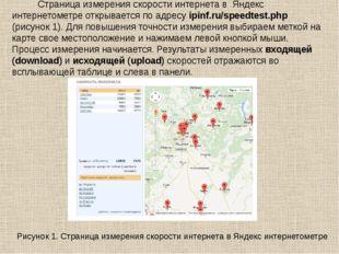 Рисунок 1. Страница измерения скорости интернета в Яндекс интернетометре Стр