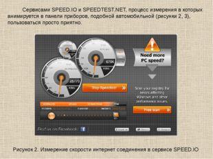 Сервисами SPEED.IO и SPEEDTEST.NET, процесс измерения в которых анимируется