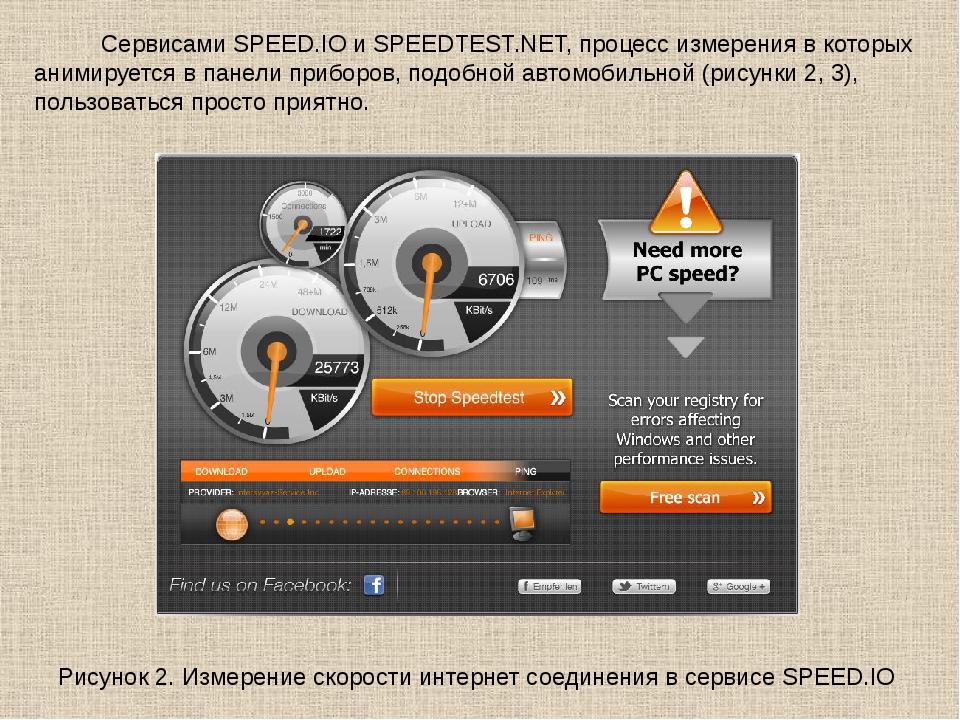 Сервисами SPEED.IO и SPEEDTEST.NET, процесс измерения в которых анимируется...