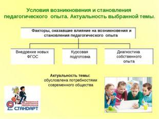 Условия возникновения и становления педагогического опыта. Актуальность выбра