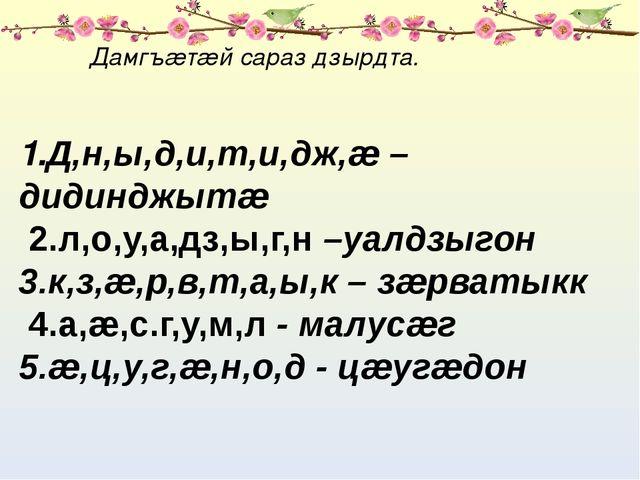 Дамгъæтæй сараз дзырдта. 1.Д,н,ы,д,и,т,и,дж,æ –дидинджытæ 2.л,о,у,а,дз,ы,г,н...