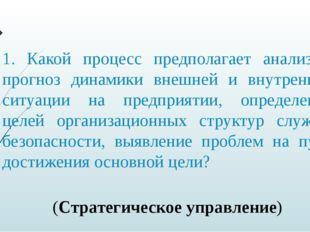 1. Какой процесс предполагает анализ и прогноз динамики внешней и внутренней