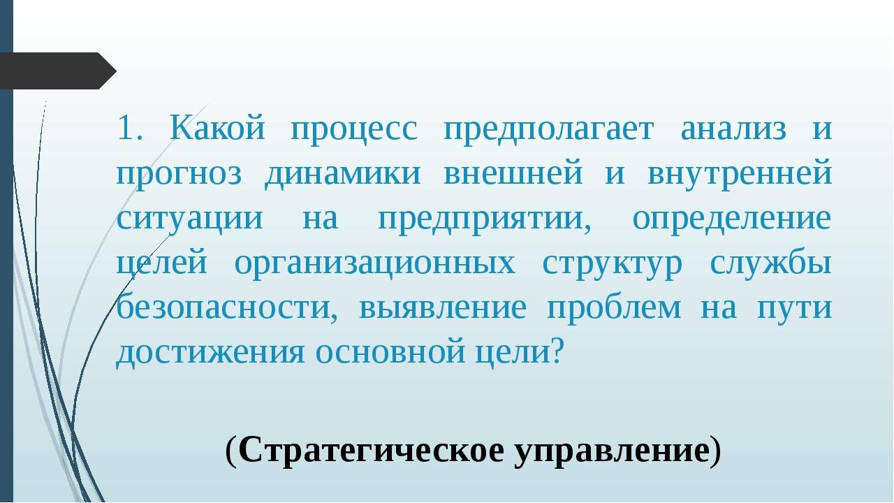 1. Какой процесс предполагает анализ и прогноз динамики внешней и внутренней...