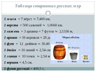 Таблица старинных русских мер 1 миля= 7 вёрст7,469 км, 1 верста = 500 с