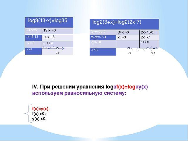 IV. При решении уравнения logаf(x)=logаy(x) используем равносильную систему:...