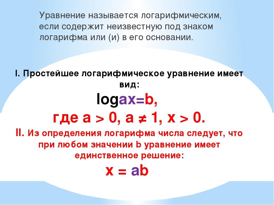 I. Простейшее логарифмическое уравнение имеет вид: logаx=b, где а > 0, а ≠ 1,...