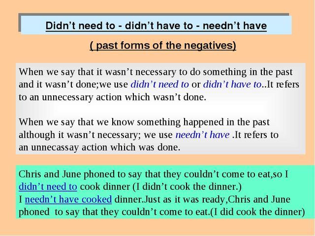 Didn't need to - didn't have to - needn't have ( past forms of the negatives)...