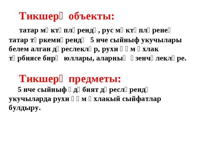 Тикшерү объекты: татар мәктәпләрендә, рус мәктәпләренең татар төркемнәрендә...