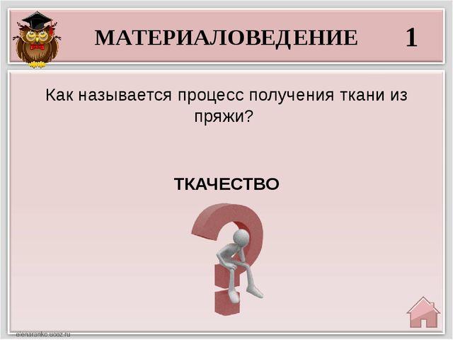 МАТЕРИАЛОВЕДЕНИЕ 1 ТКАЧЕСТВО Как называется процесс получения ткани из пряжи?