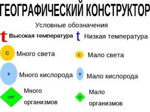 С С Условные обозначения Много света Мало света Высокая температура Низкая те