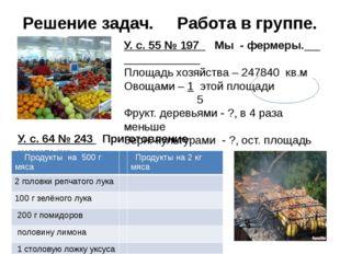 Решение задач. Работа в группе. У. с. 55 № 197 Мы - фермеры. Площадь хозяйств