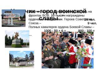 Нальчик –город воинской славы 2010 год Тысячи нальчан героически сражались на