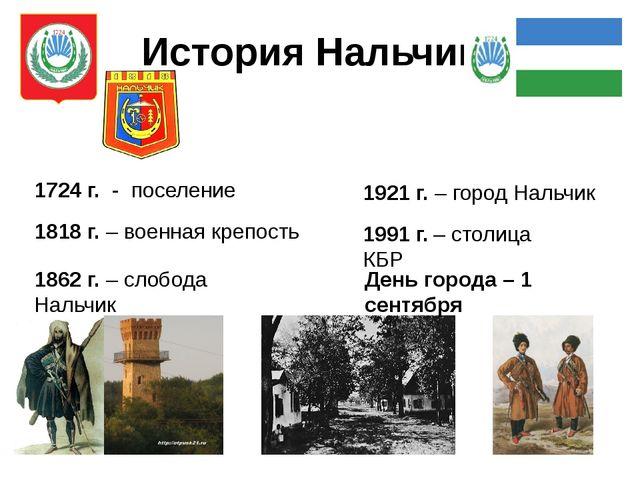 История Нальчика 1724 г. - поселение 1818 г. – военная крепость 1862 г. – сло...