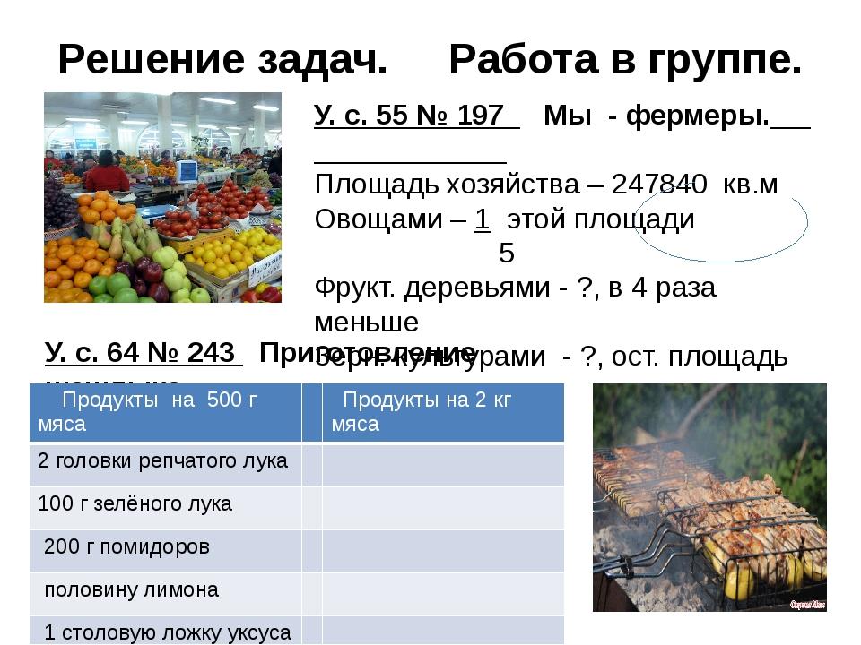 Решение задач. Работа в группе. У. с. 55 № 197 Мы - фермеры. Площадь хозяйств...