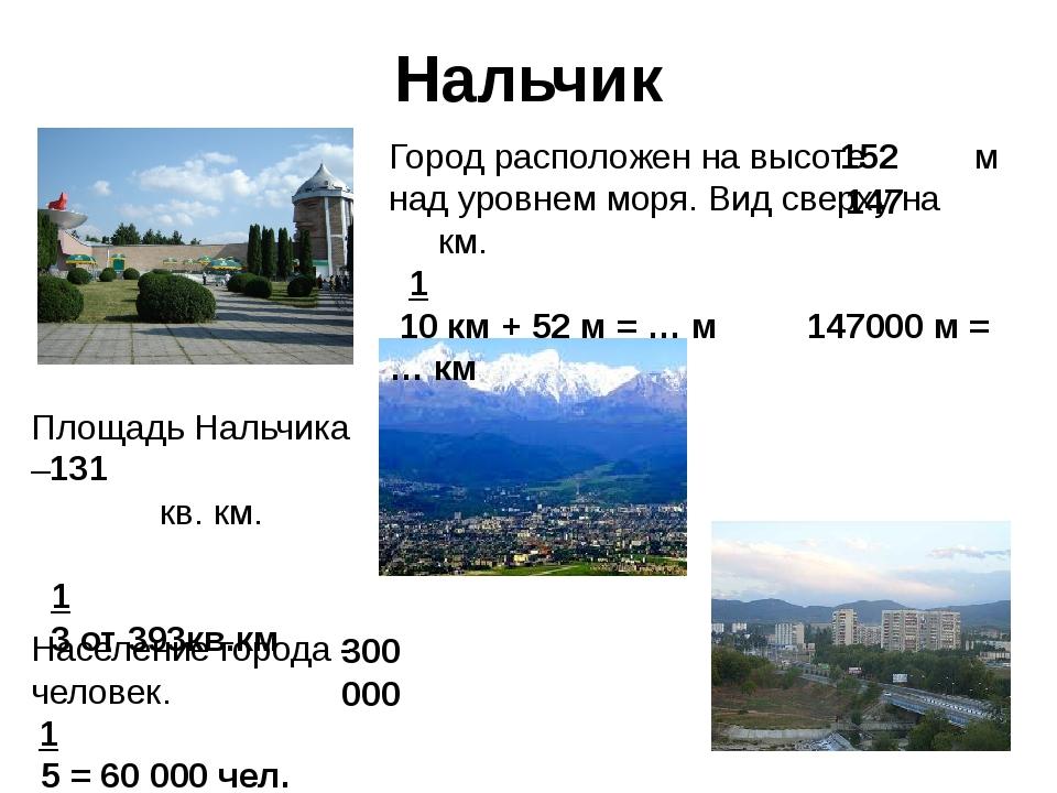 Нальчик Город расположен на высоте м над уровнем моря. Вид сверху на км. 1 10...