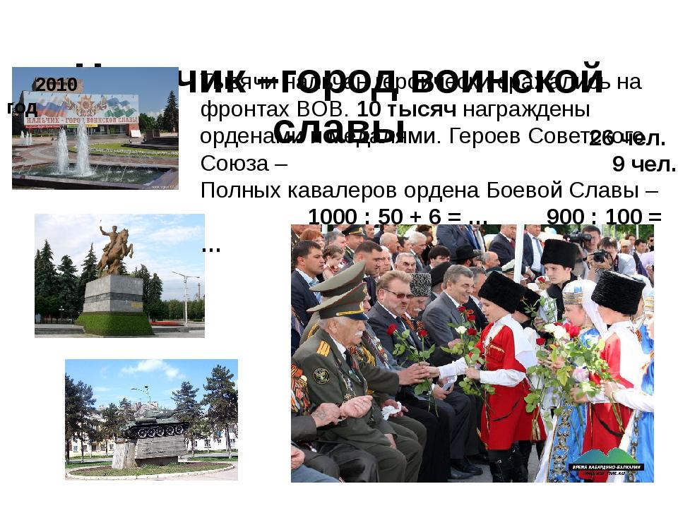 Нальчик –город воинской славы 2010 год Тысячи нальчан героически сражались на...