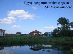 Пруд, сохранившийся с времен М. В. Ломоносова