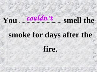 You ……………………….…… smell the smoke for days after the fire. couldn't