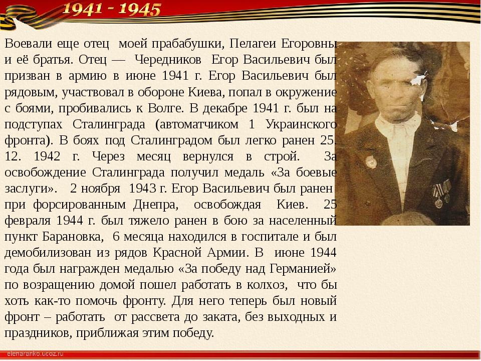 Воевали еще отец моей прабабушки, Пелагеи Егоровны и её братья. Отец ― Чередн...