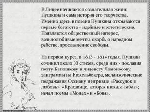В Лицее начинается сознательная жизнь Пушкина и сама история его творчества.