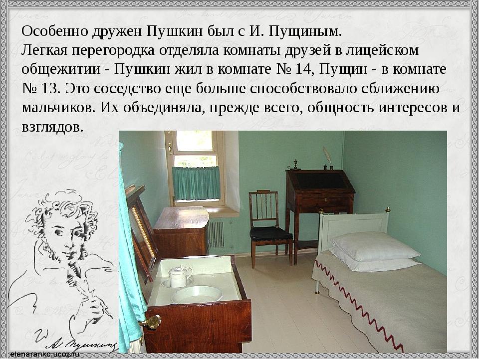 Особенно дружен Пушкин был с И. Пущиным. Легкая перегородка отделяла комнаты...